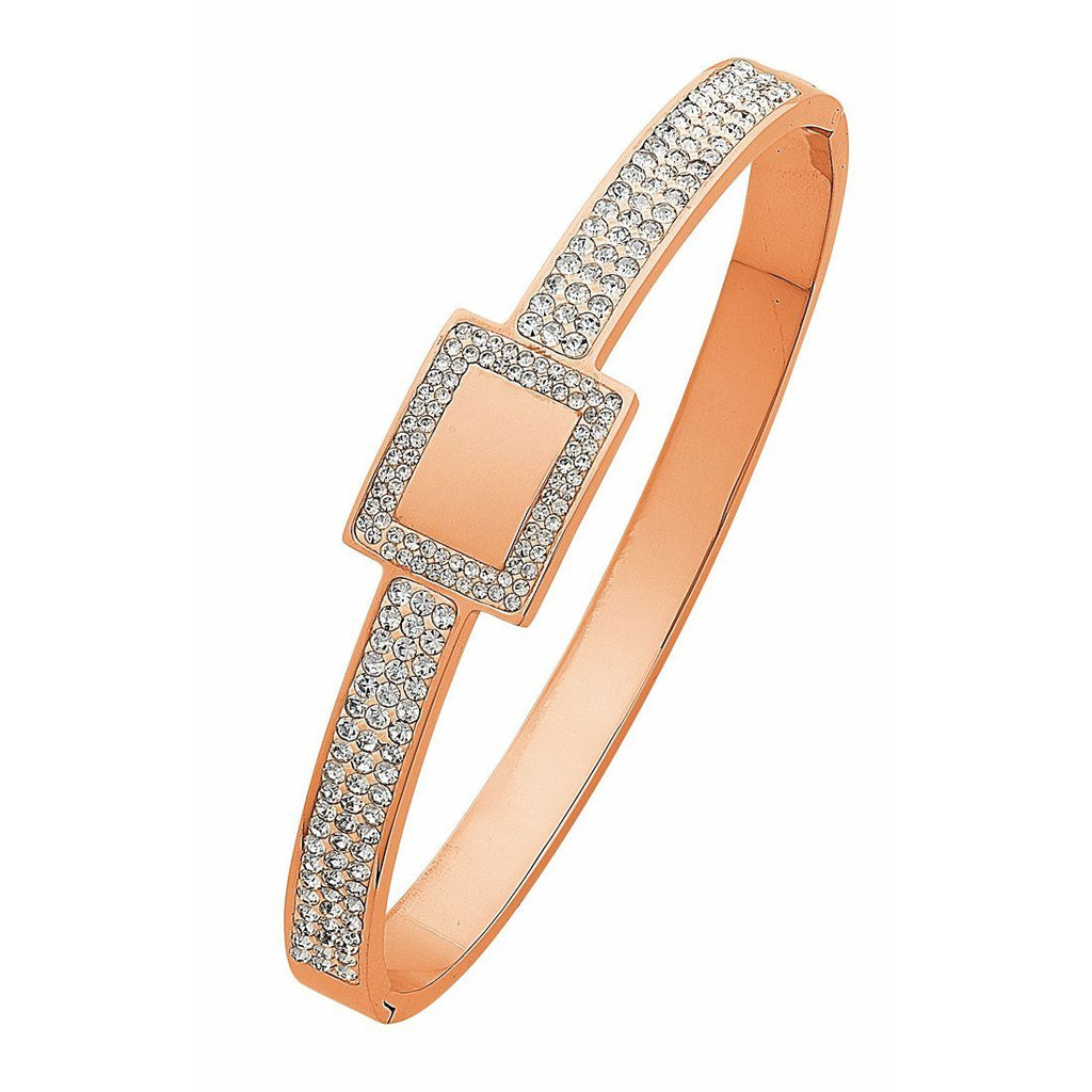 Rose Stainless Steel Pave Crystal Bangle with Square Feature