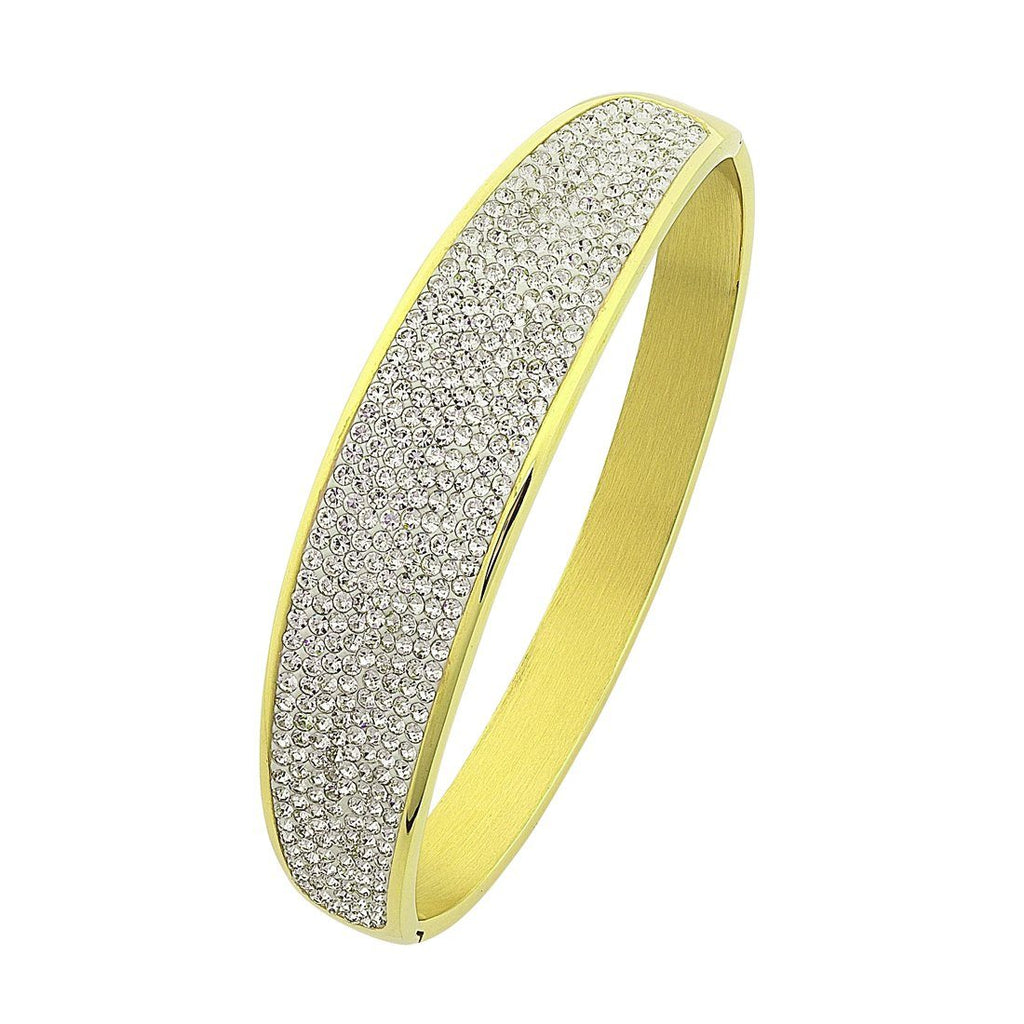 Yellow Stainless Steel Pave Bangle Bracelets Bevilles