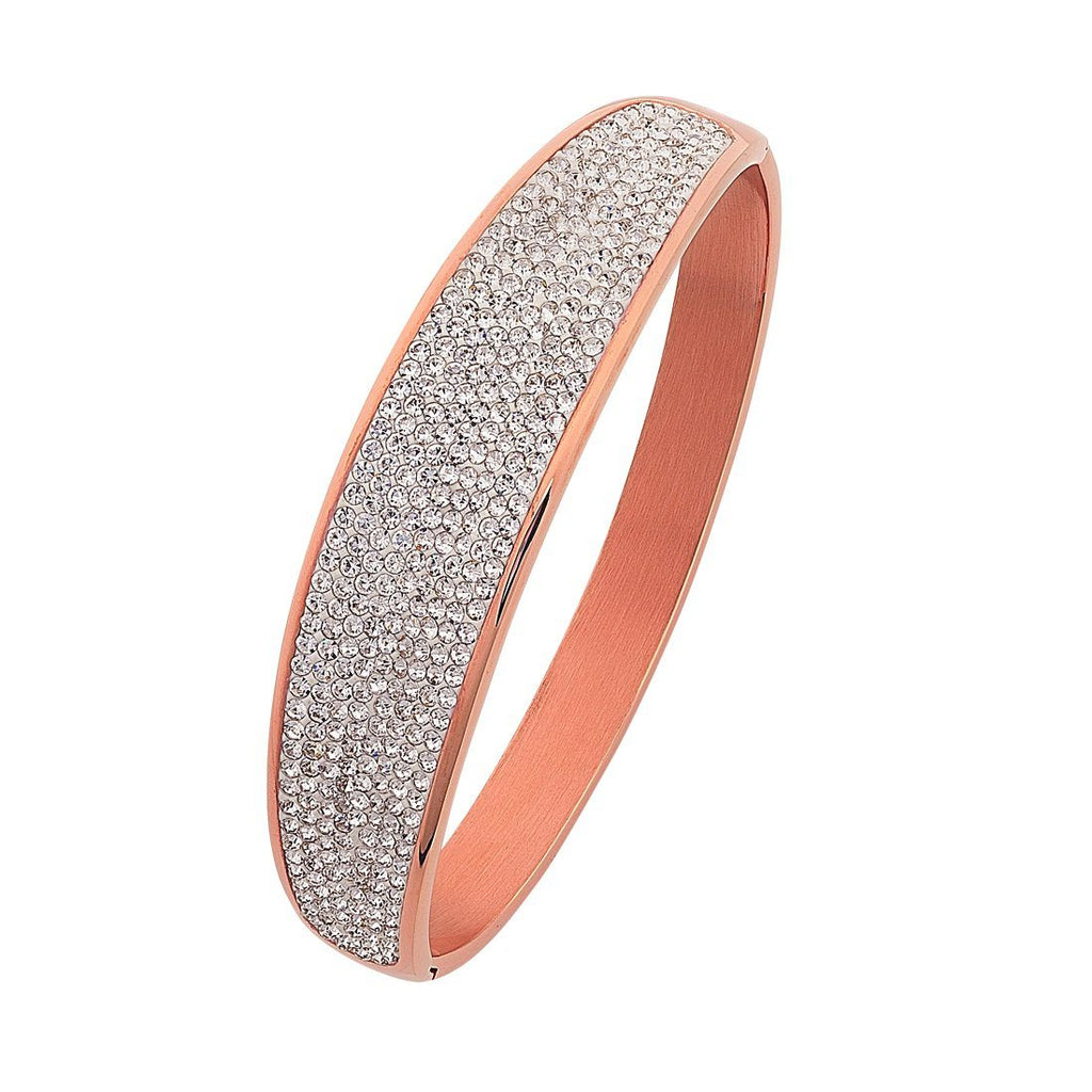 Stainless Steel Rose Pave Bangle