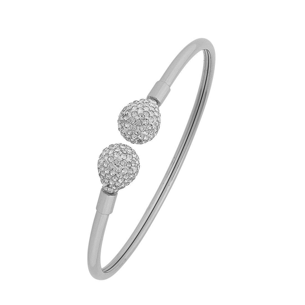 Stainless Steel Silver Crystal Pave Teardrop Cuff Bangle