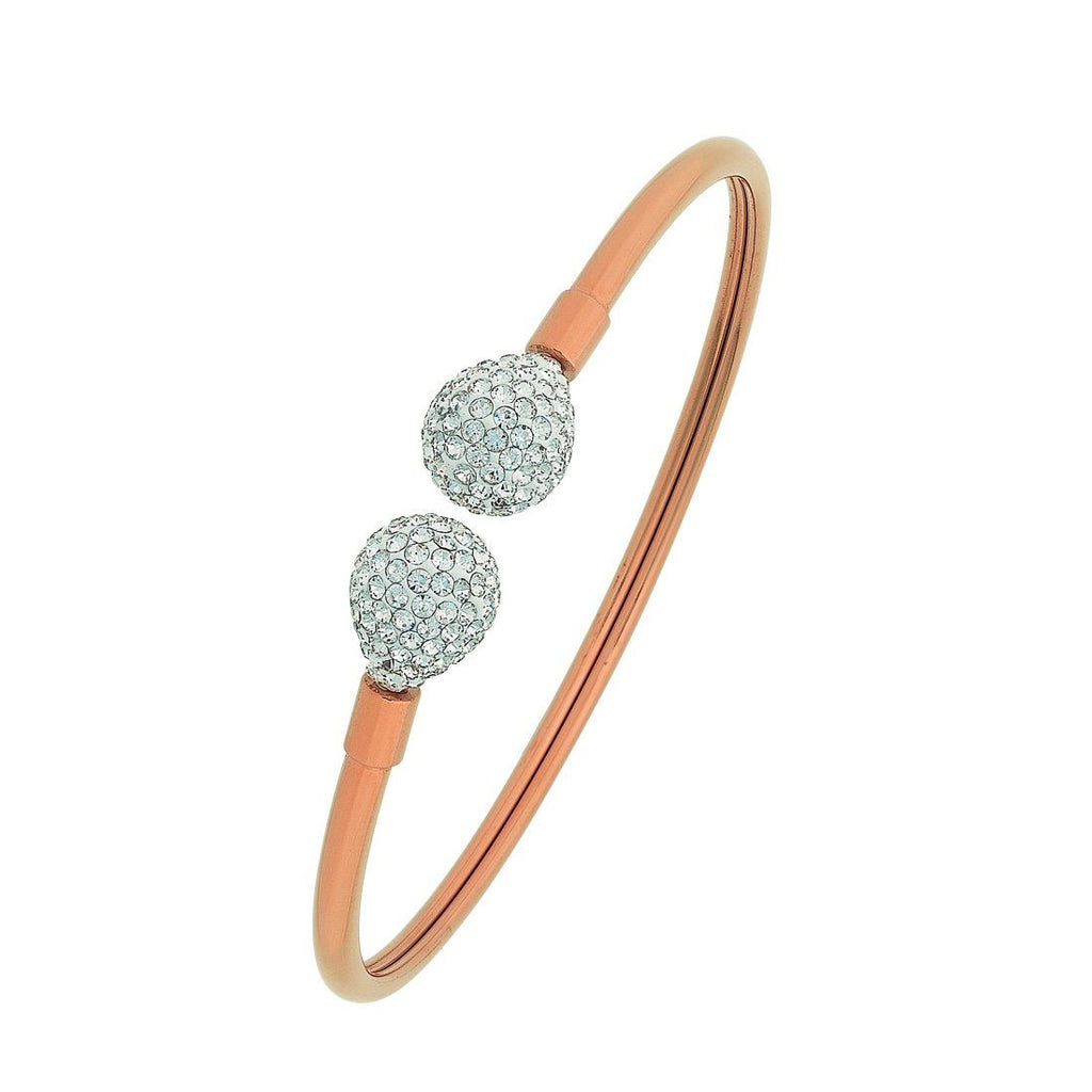 Stainless Steel Rose Crystal Pave Teardrop Cuff Bangle
