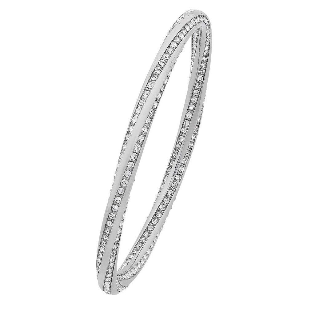 Stainless Steel White Crystal Twist Bangle