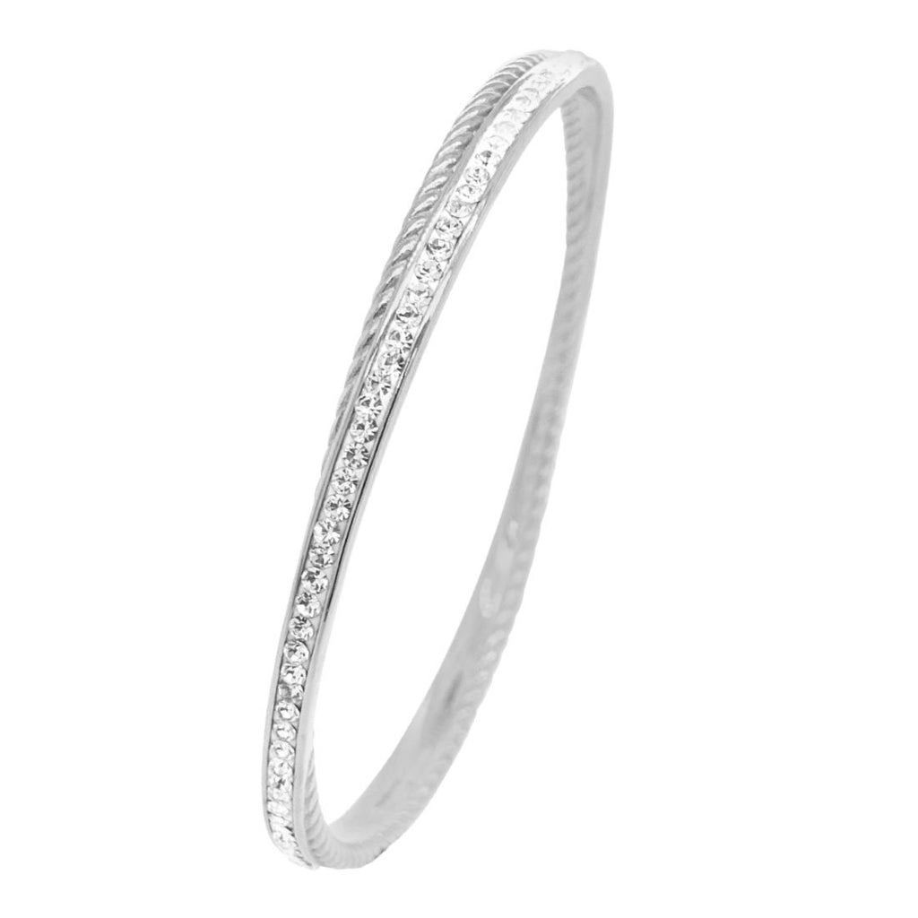 Stainless Steel Pave Crystal Double Bangle Bracelets Bevilles