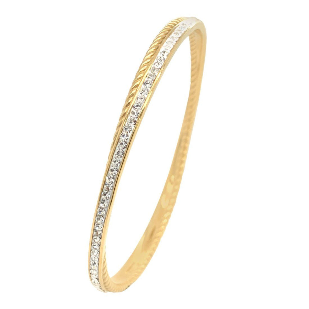 Yellow Stainless Steel Pave Crystal Double Bangle Bracelets Bevilles