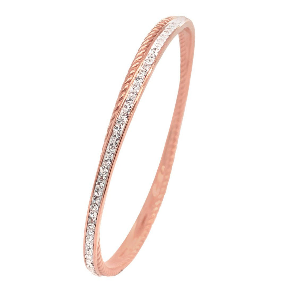 Rose Stainless Steel Pave Crystal Double Bangle Bracelets Bevilles