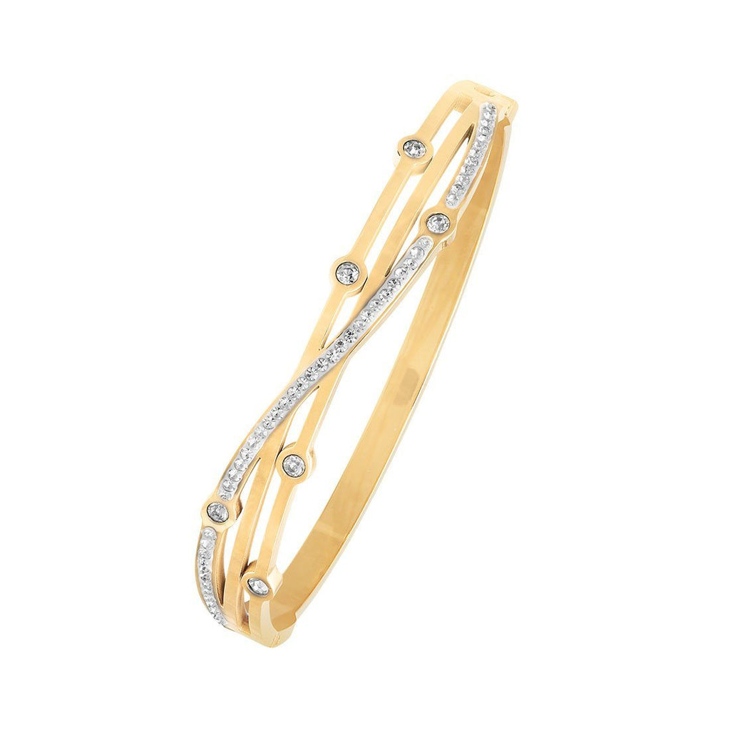 Crystal Station Crossover Bangle in Yellow Stainless Steel Bracelets Bevilles