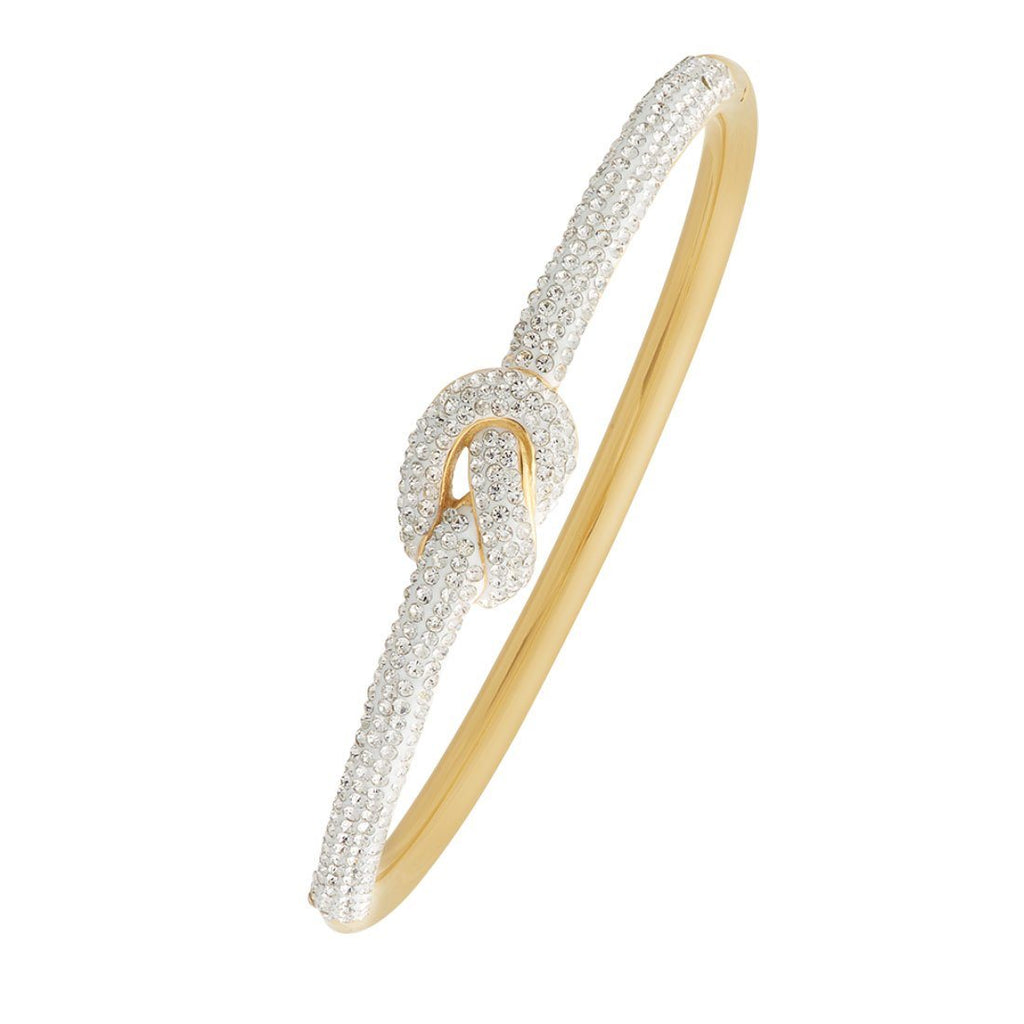 Yellow Stainless Steel Crystal Knot Bangle Bracelets Bevilles