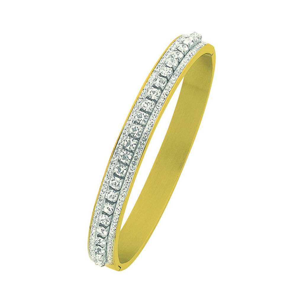 Stainless Steel Yellow Crystal Pave Bangle