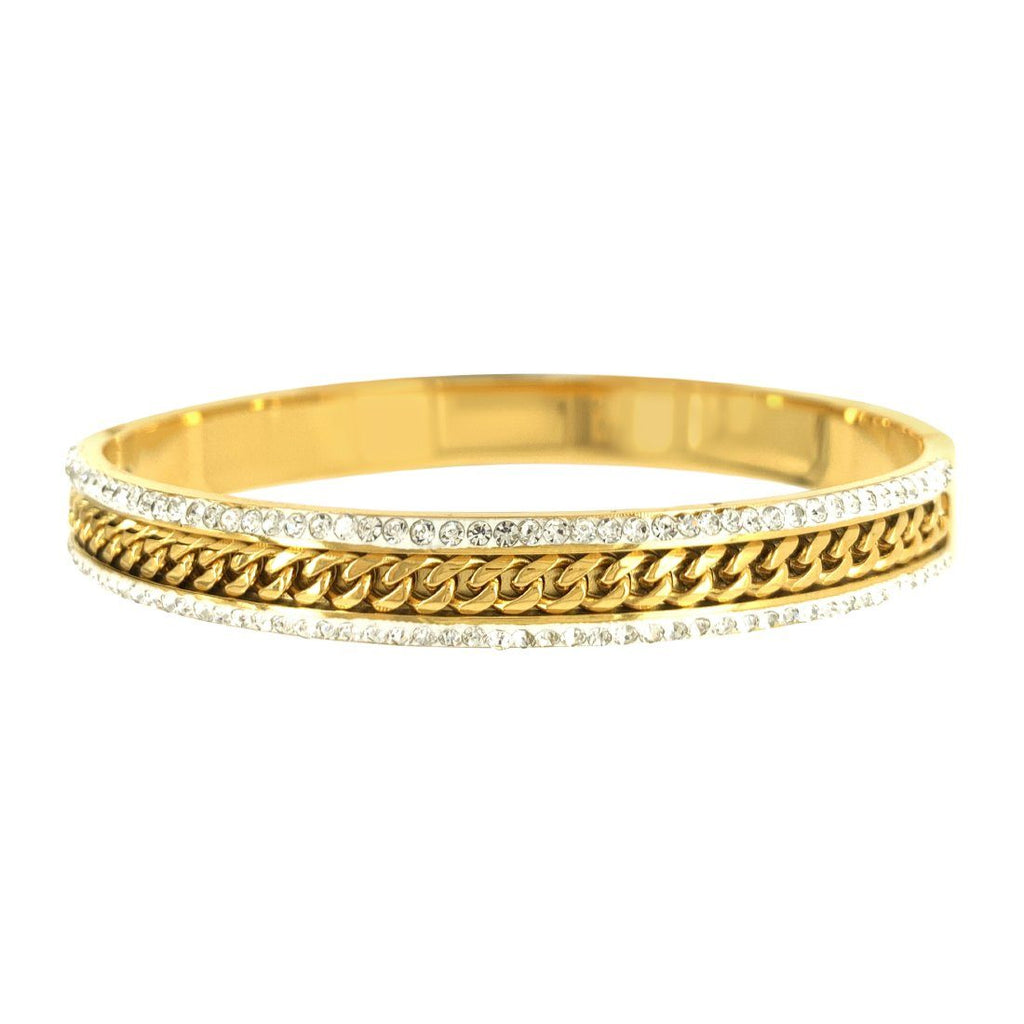 Two Row Pave Crystal Bangle in Gold Stainless Steel Bracelets Bevilles