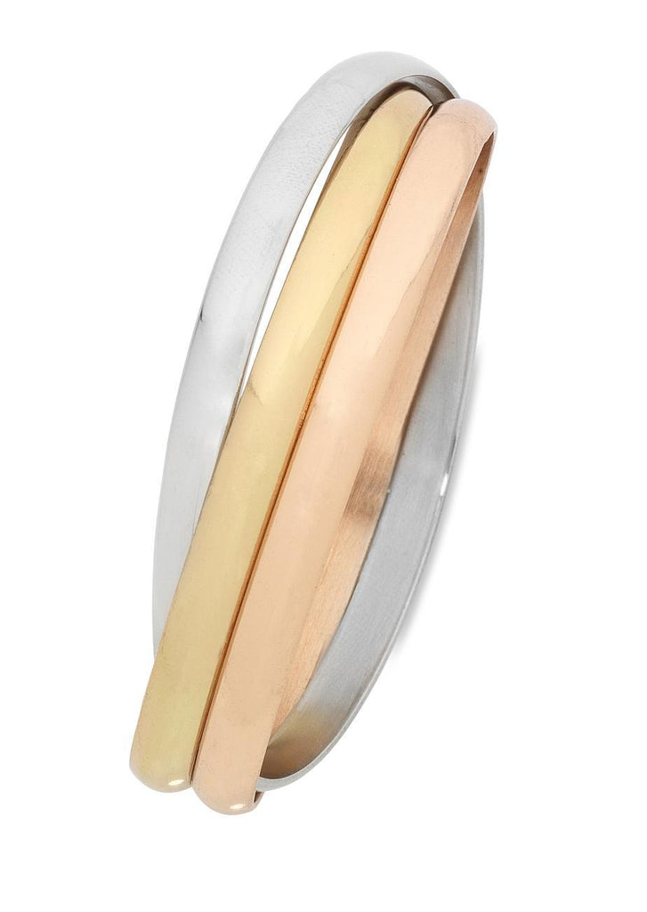 Stainless Steel Three Tone Interlock Bangle Bracelets Bevilles