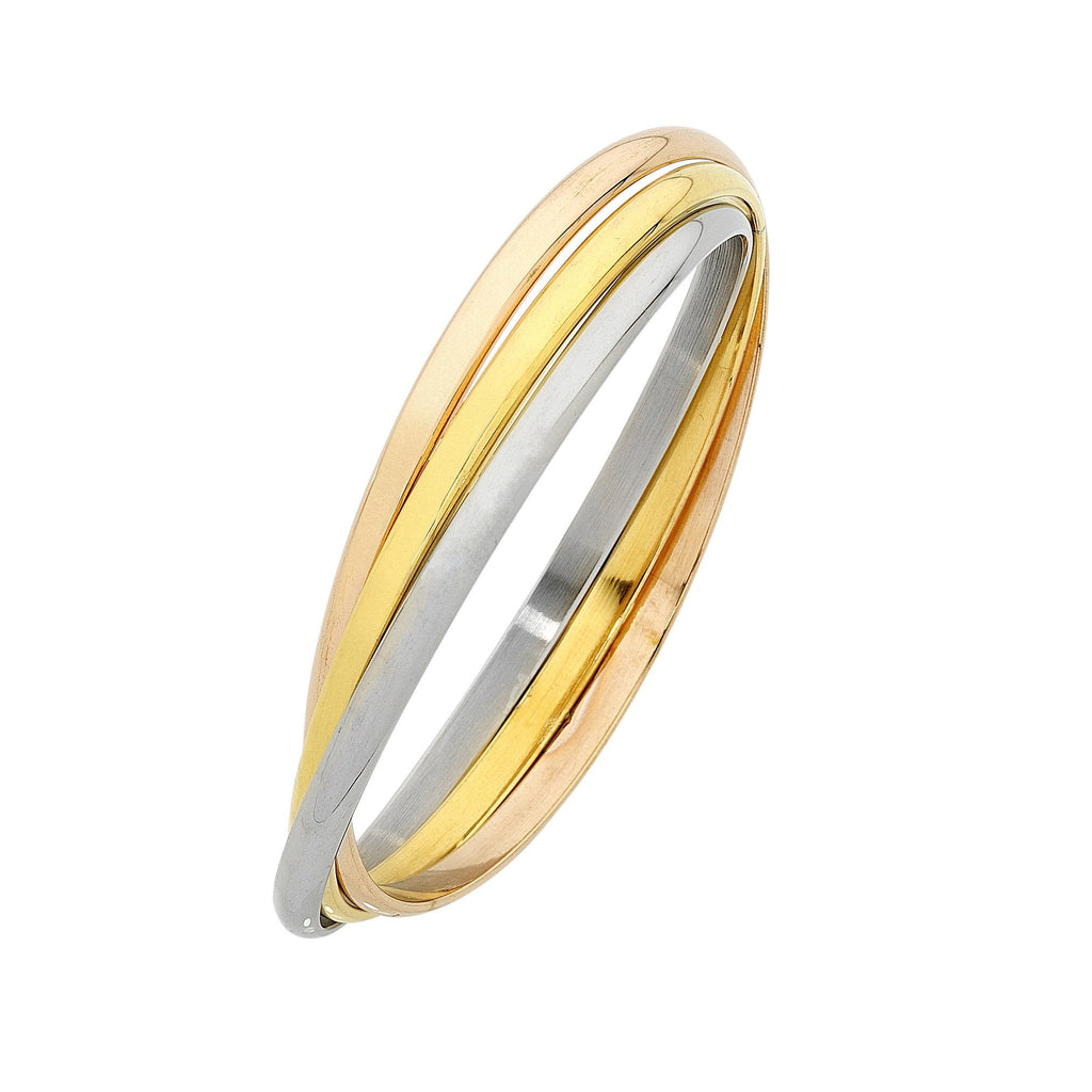 Stainless Steel Three Tone Russian Bangle Bracelets Bevilles