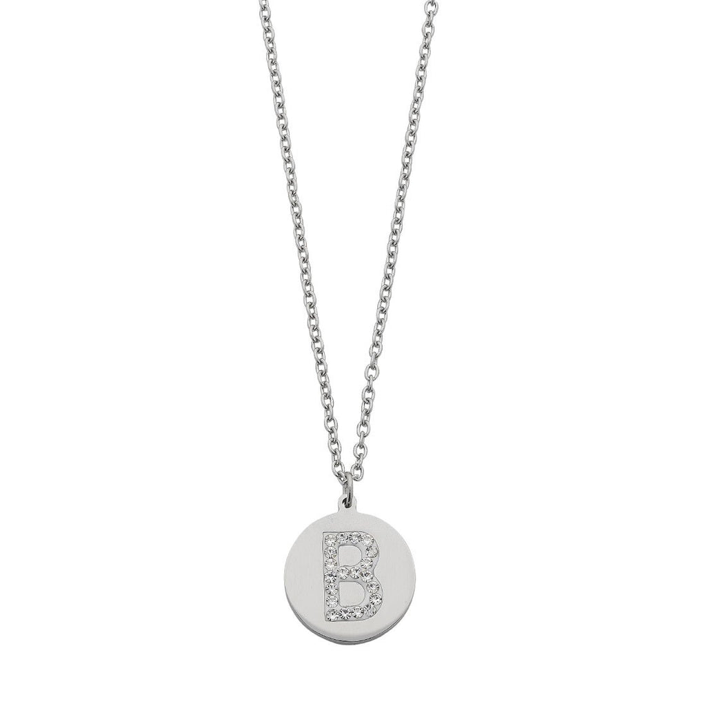 Stainless Steel White Crystal Initial Necklace Necklaces Bevilles B