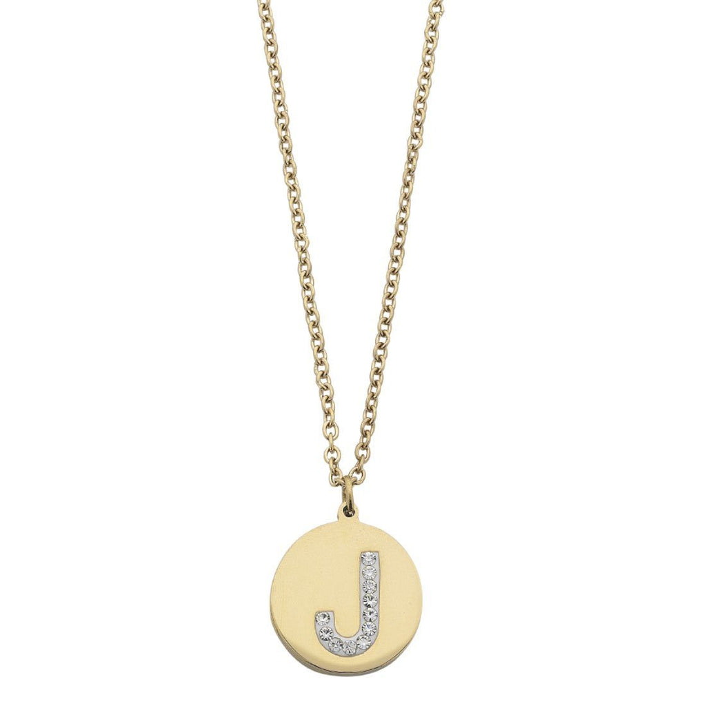 Yellow Stainless Steel Crystal Pave Initial Necklace Necklaces Bevilles