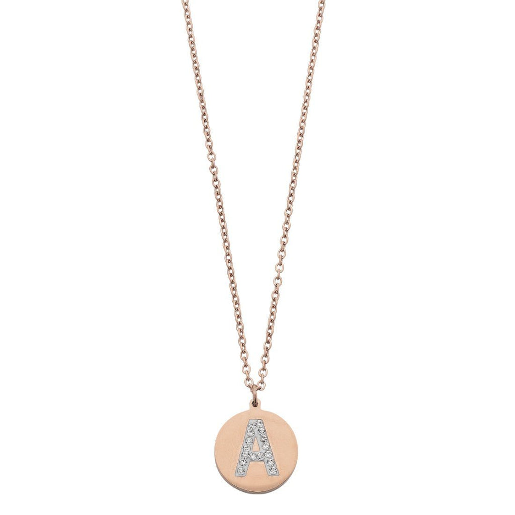 Rose Stainless Steel Crystal Pave Initial Necklace Necklaces Bevilles A