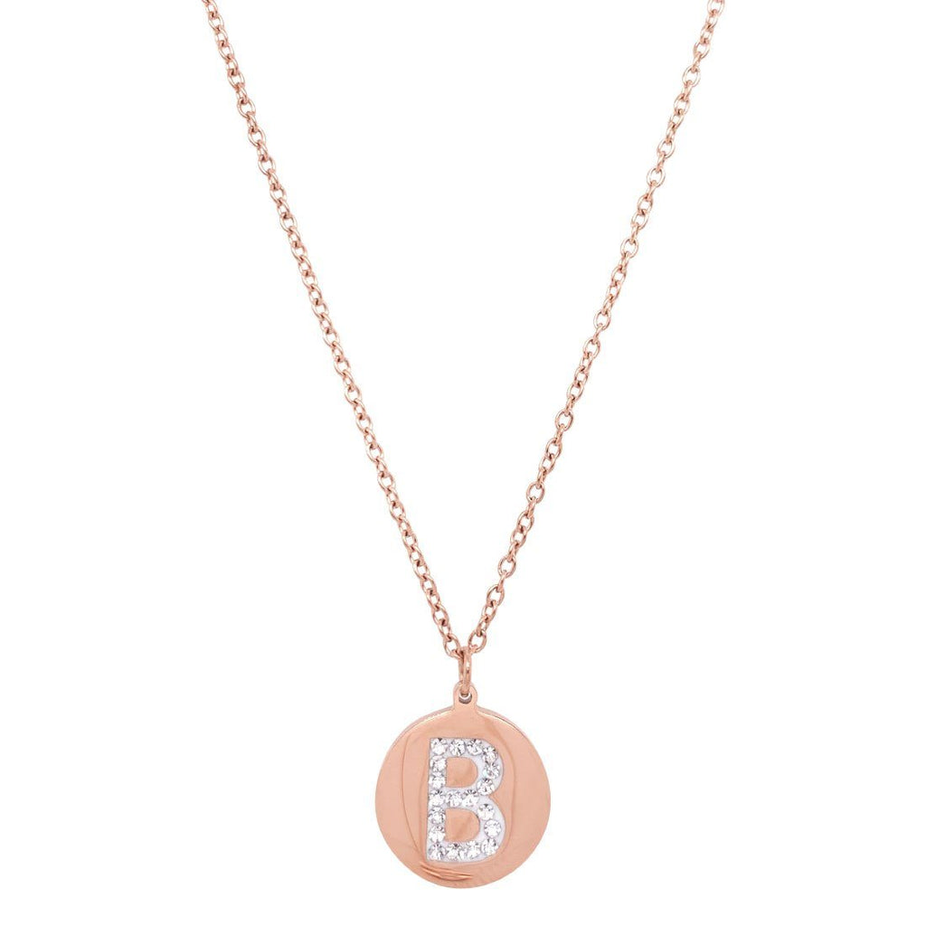 Rose Stainless Steel Crystal Pave Initial Necklace Necklaces Bevilles B
