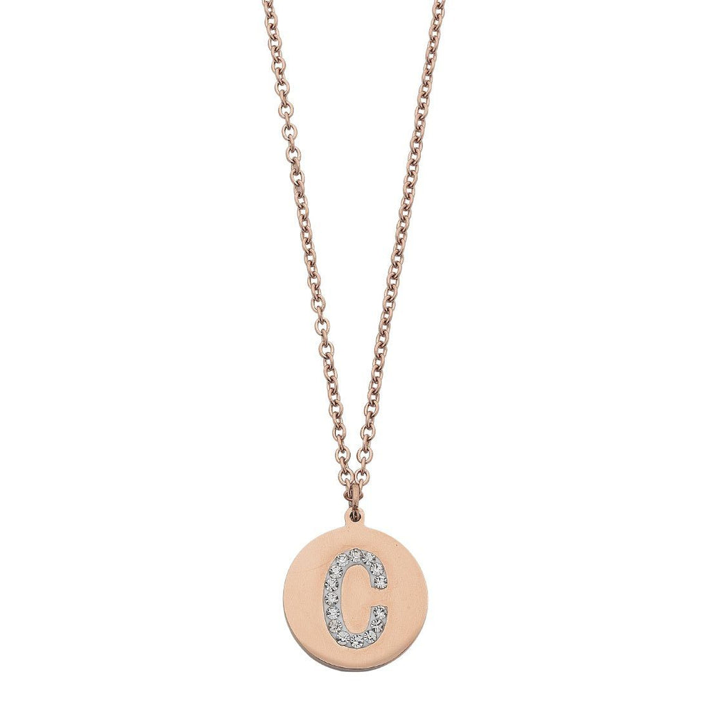 Rose Stainless Steel Crystal Pave Initial Necklace