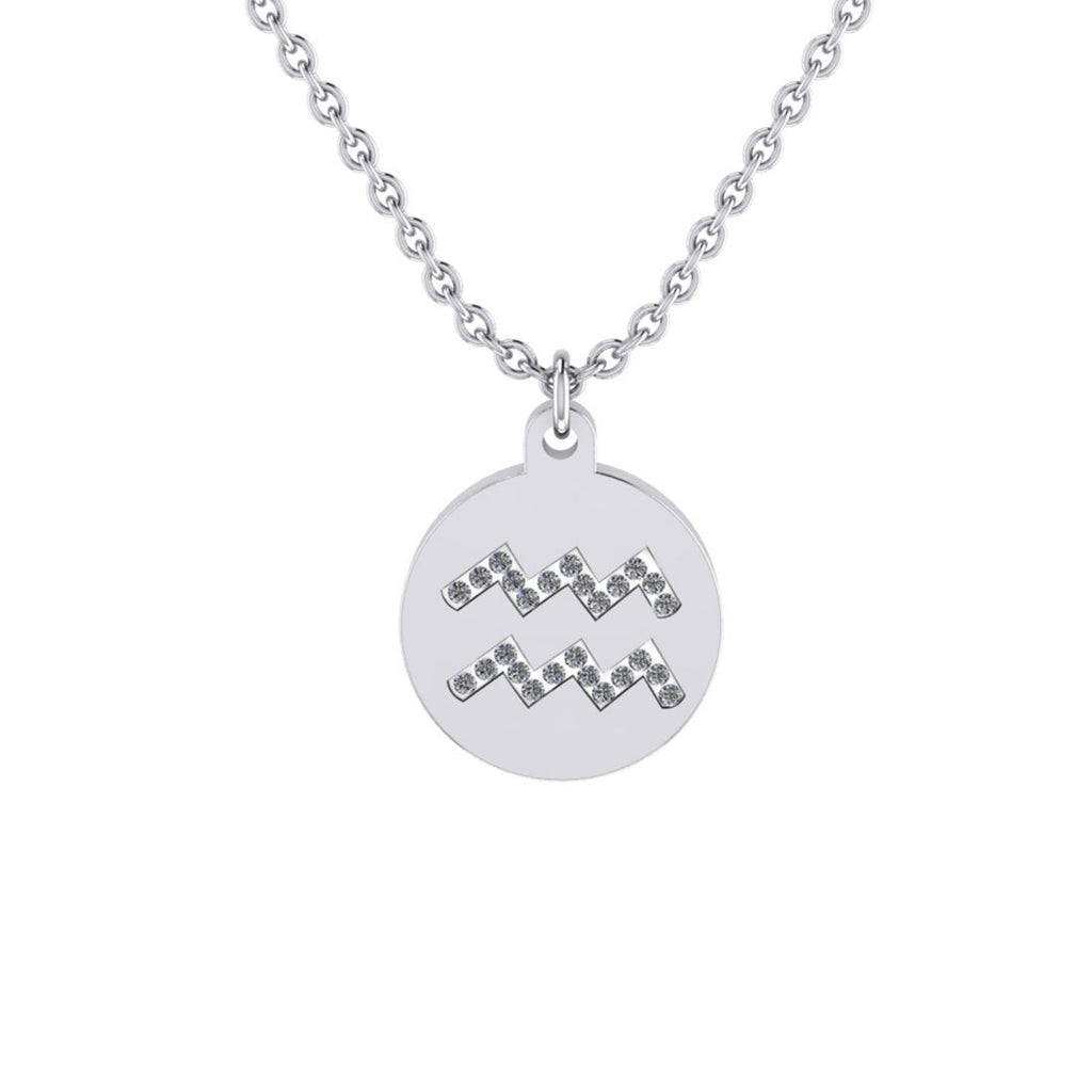 Aquarius Zodiac Necklace in Stainless Steel Necklaces Bevilles