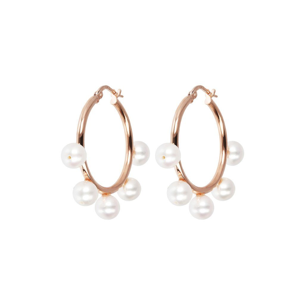 Bronzallure White Pearls Hoop Earrings Earrings Bronzallure White Pearl