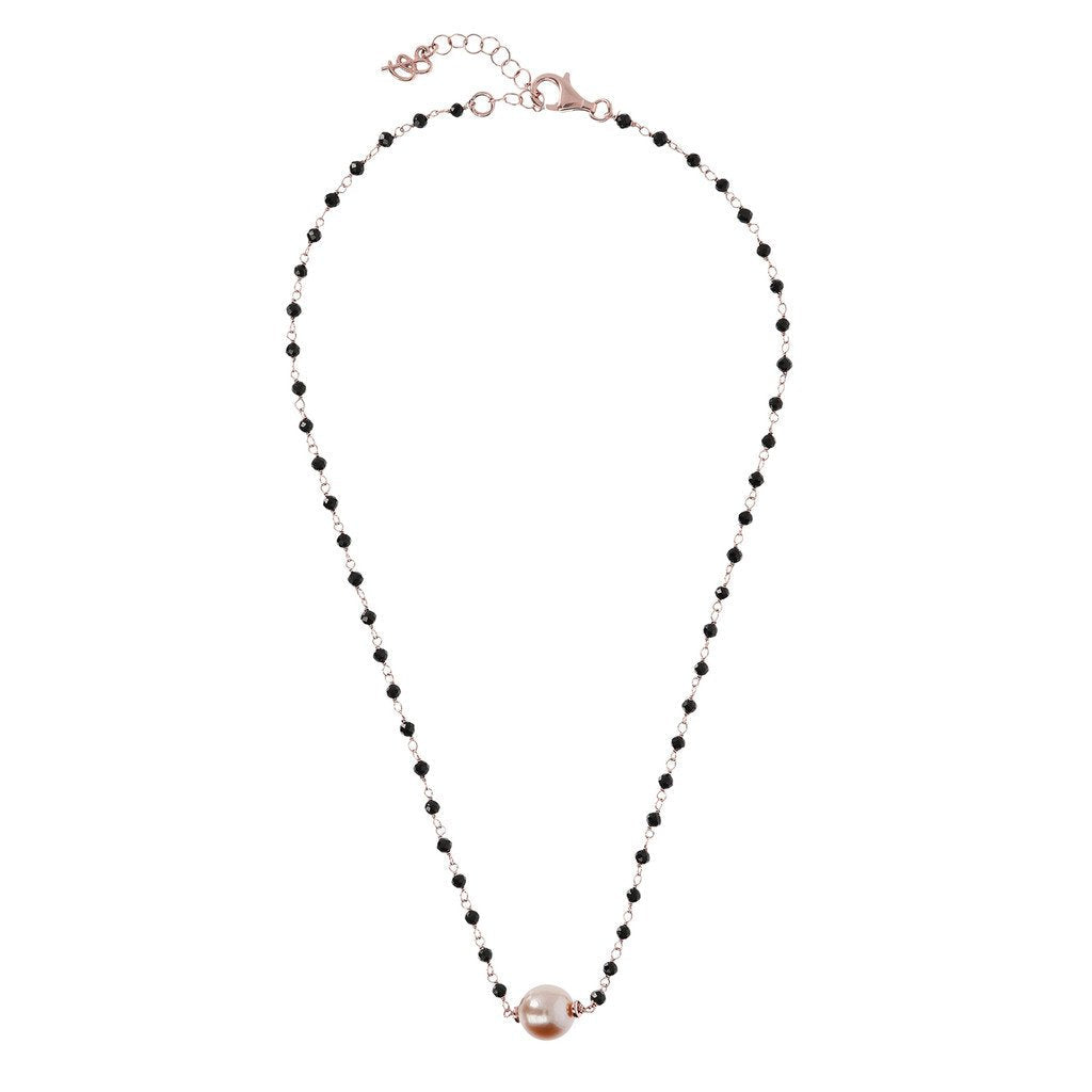 Bronzallure Black Spinel And Rose Pearl Necklace Necklace Bronzallure