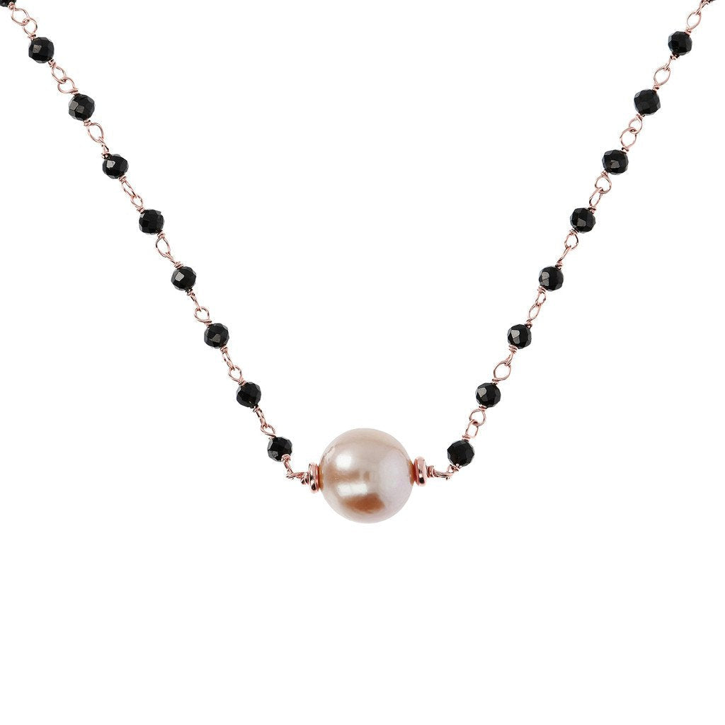 Bronzallure Black Spinel And Rose Pearl Necklace Necklace Bronzallure 41.9 cm + 3.81 cm Rose Pearl