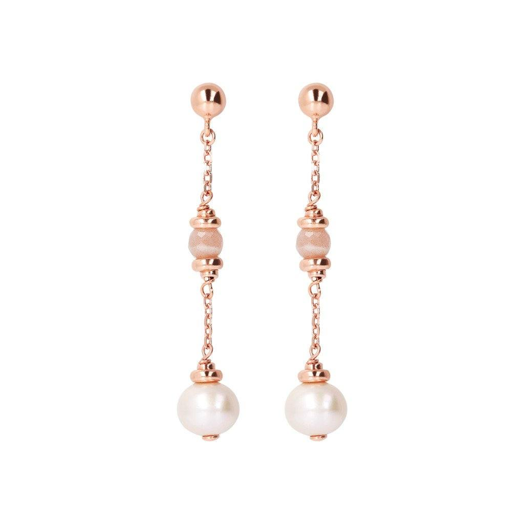 Bronzallure Long Earrings With Pearl Earrings Bronzallure Peach Moonstone