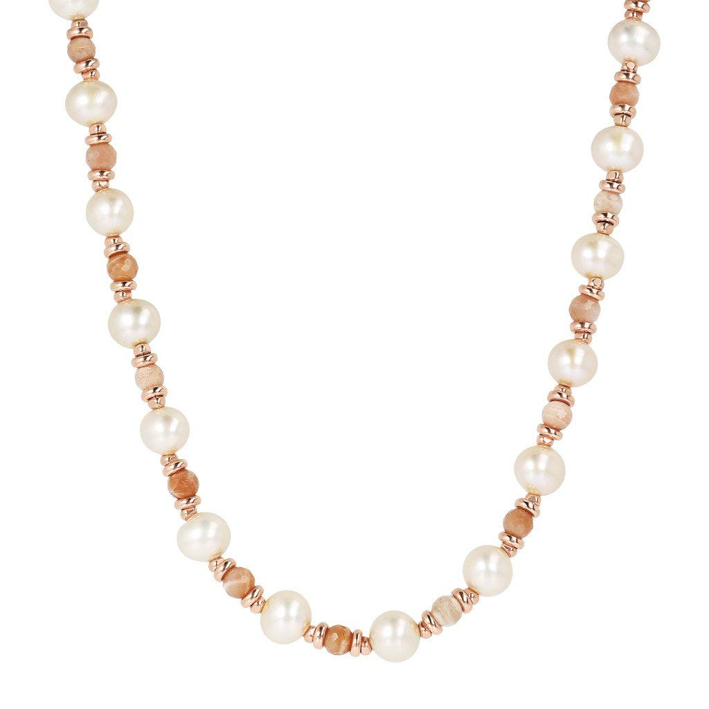 Bronzallure Moonstone And Pearls Necklace Necklace Bronzallure 43.2 cm Peach Moonstone