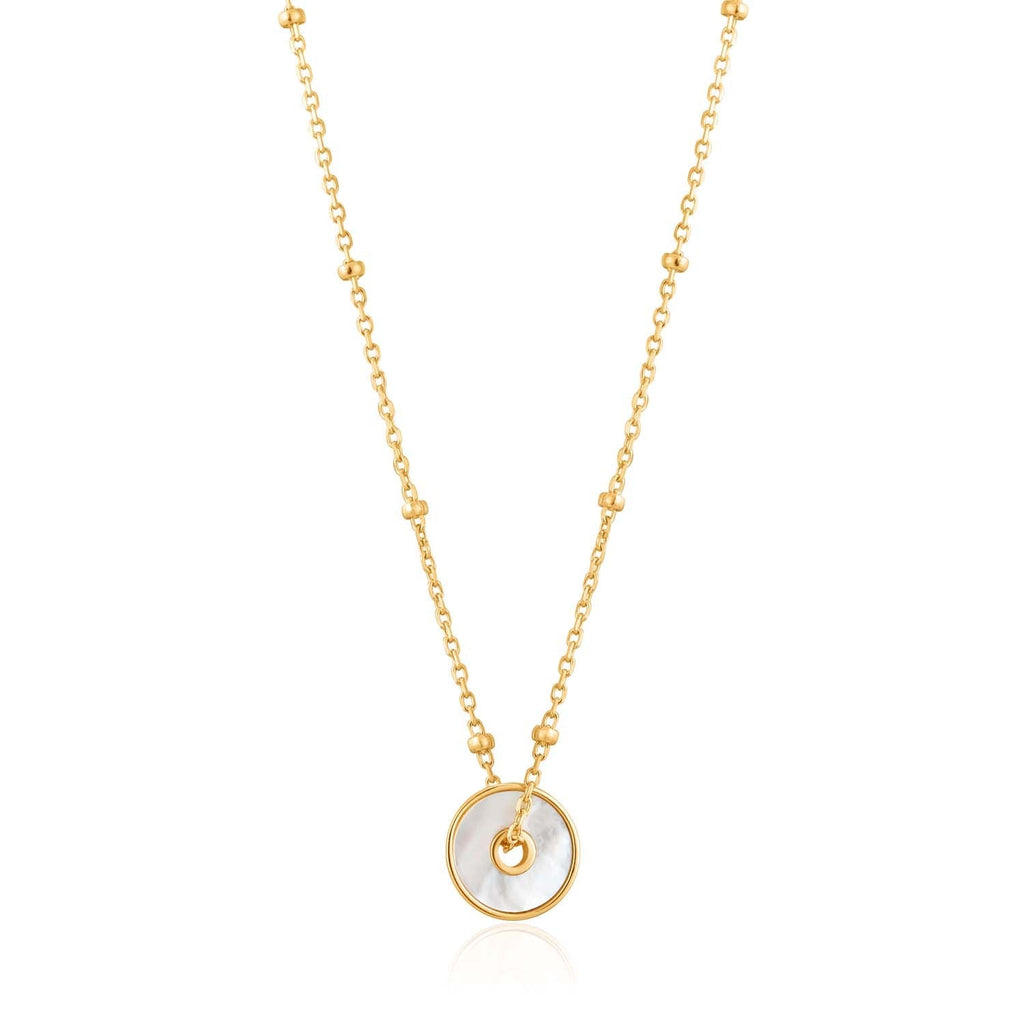 Ania Haie Mother Of Pearl Disc Necklace - Gold Necklace Ania Haie