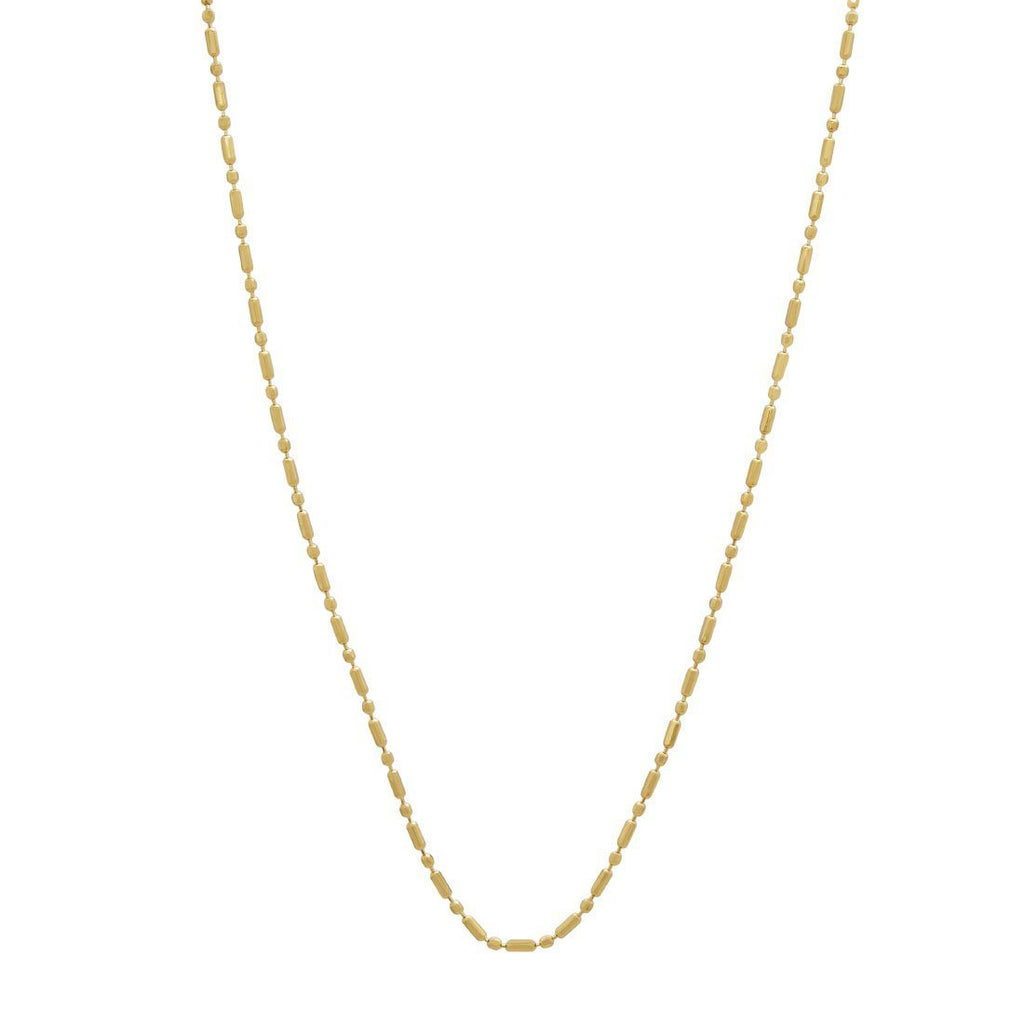 10ct Yellow Gold Bead & Bar Chain Necklace 45cm Necklaces Bevilles