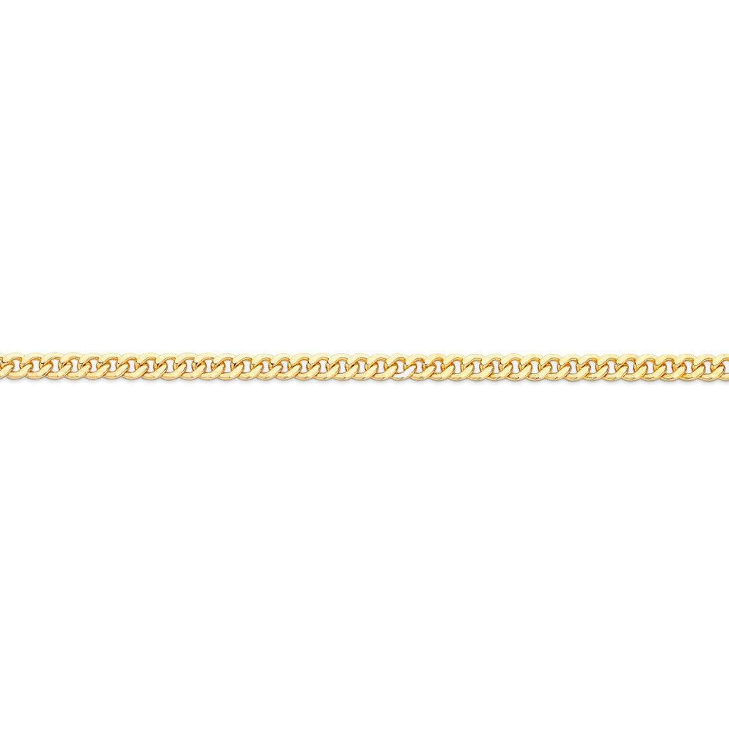 9ct Yellow Gold Round Curb Chain Necklace 45cm Necklaces Bevilles