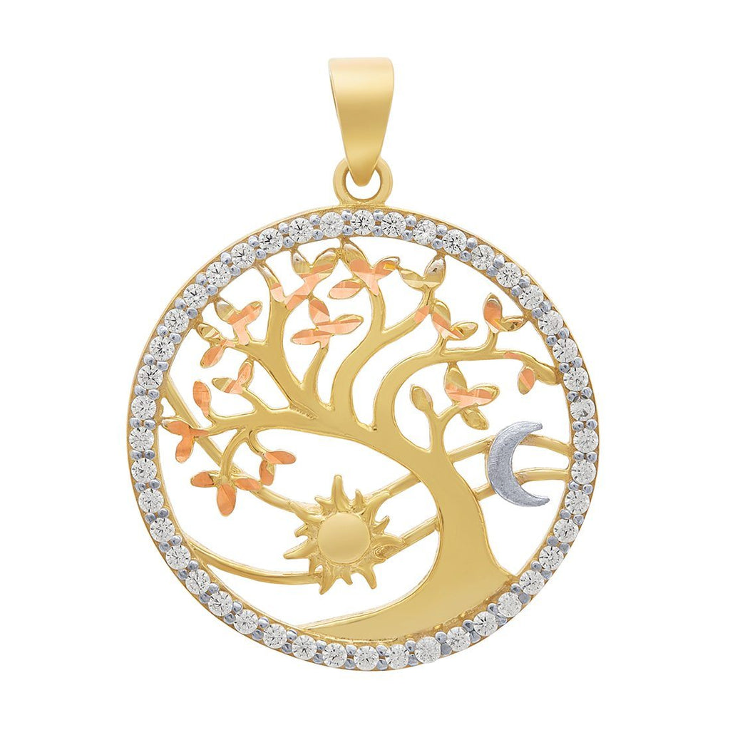 Tree of Life Moon & Sun Cubic Zirconia Pendent Necklaces Bevilles