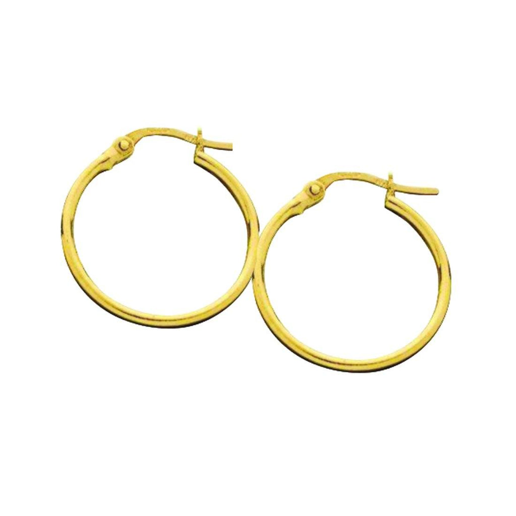 9ct Yellow Gold 15mm Hoop Earrings Earrings Bevilles