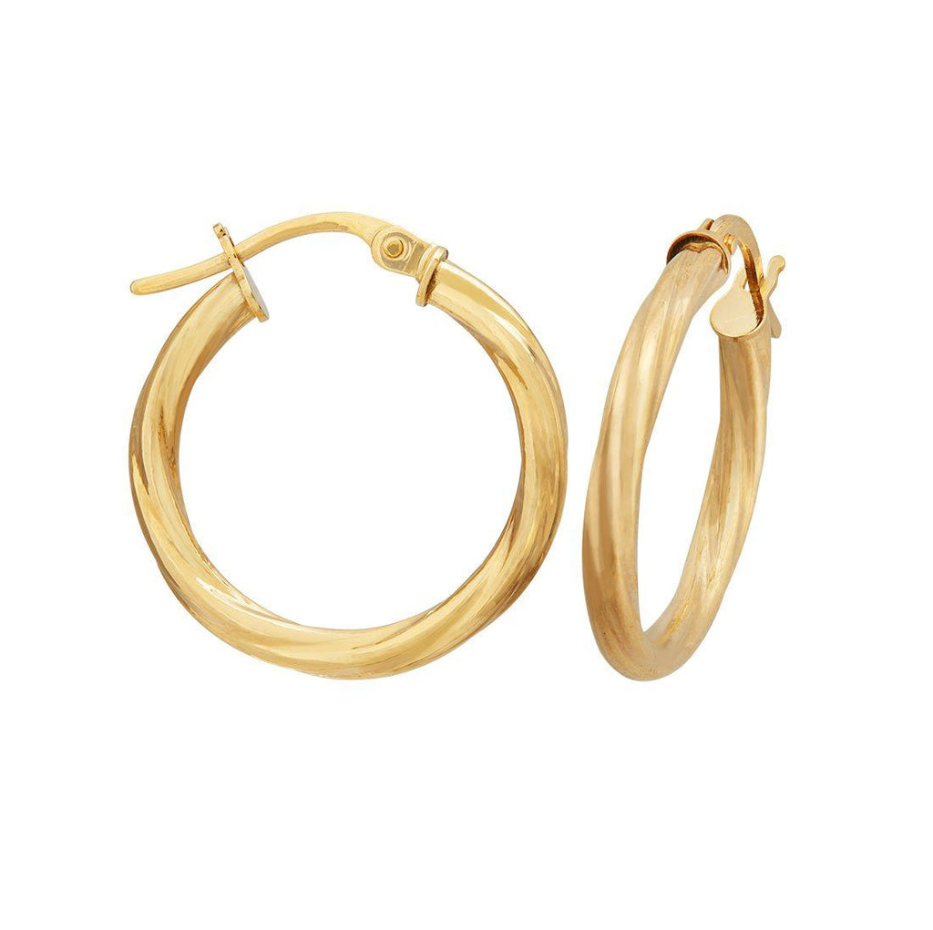 9ct Yellow Gold Twist Hoop Earrings 15mm Earrings Bevilles