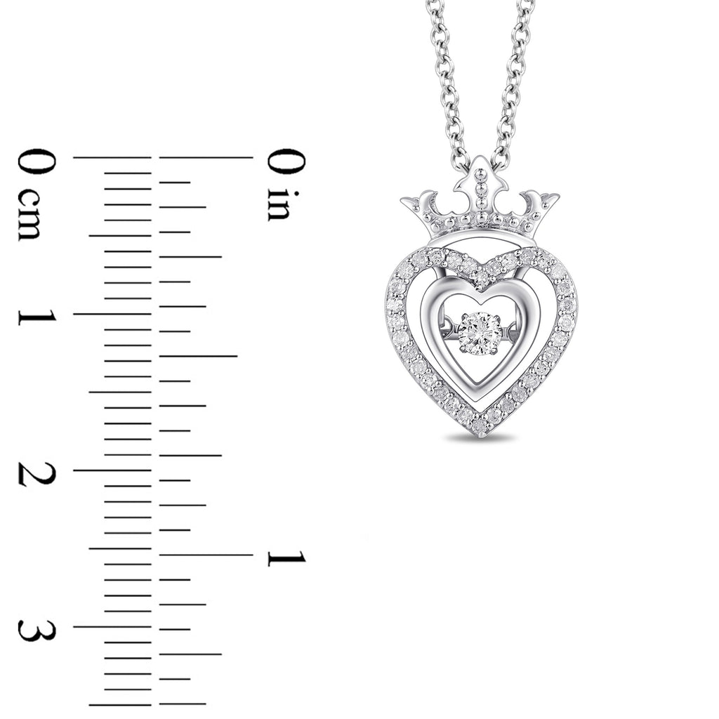 Enchanted Disney Fine Jewelry Sterling Silver Majestic Princess Heart Shape Crown Pendant with 1/5ct Diamonds TDW and Dancing Diamond Centre Necklaces Enchanted Disney Fine Jewelry