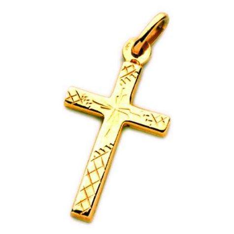 9ct Yellow Gold Engraved Medium Cross Pendant