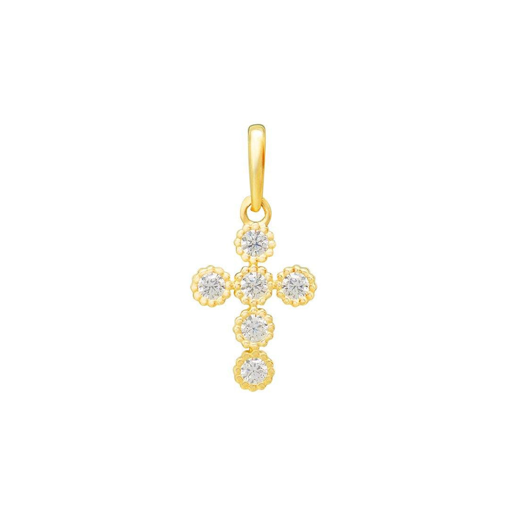 Cubic Zirconia Cross Pendant in 9ct Yellow Gold Necklaces Bevilles