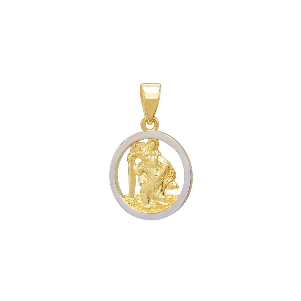 St Christopher Medal Pendant in 9ct Yellow Gold Two Tone Necklaces Bevilles