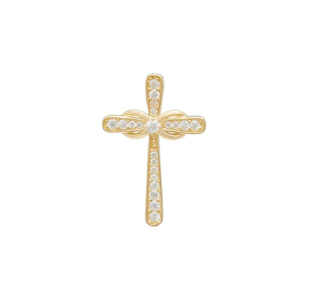 Cross Pendant with Cubic Zirconia in 9ct Yellow Gold Necklaces Bevilles