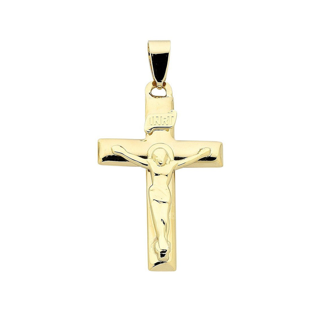 9ct Yellow Gold Large Crucifix Pendant Necklaces Bevilles