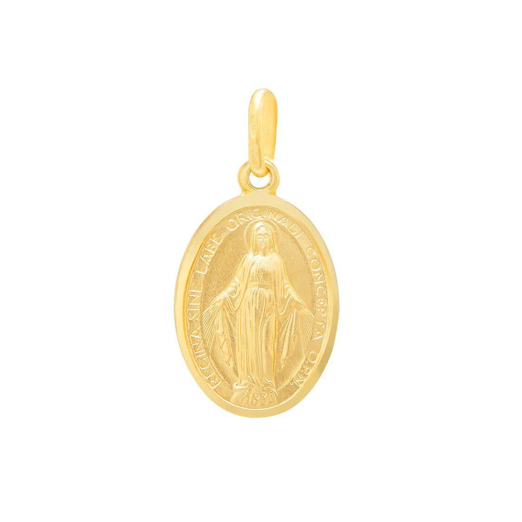 Religious Oval Madonna Virgin Mary Pendant in 9ct Yellow Gold Necklaces Bevilles