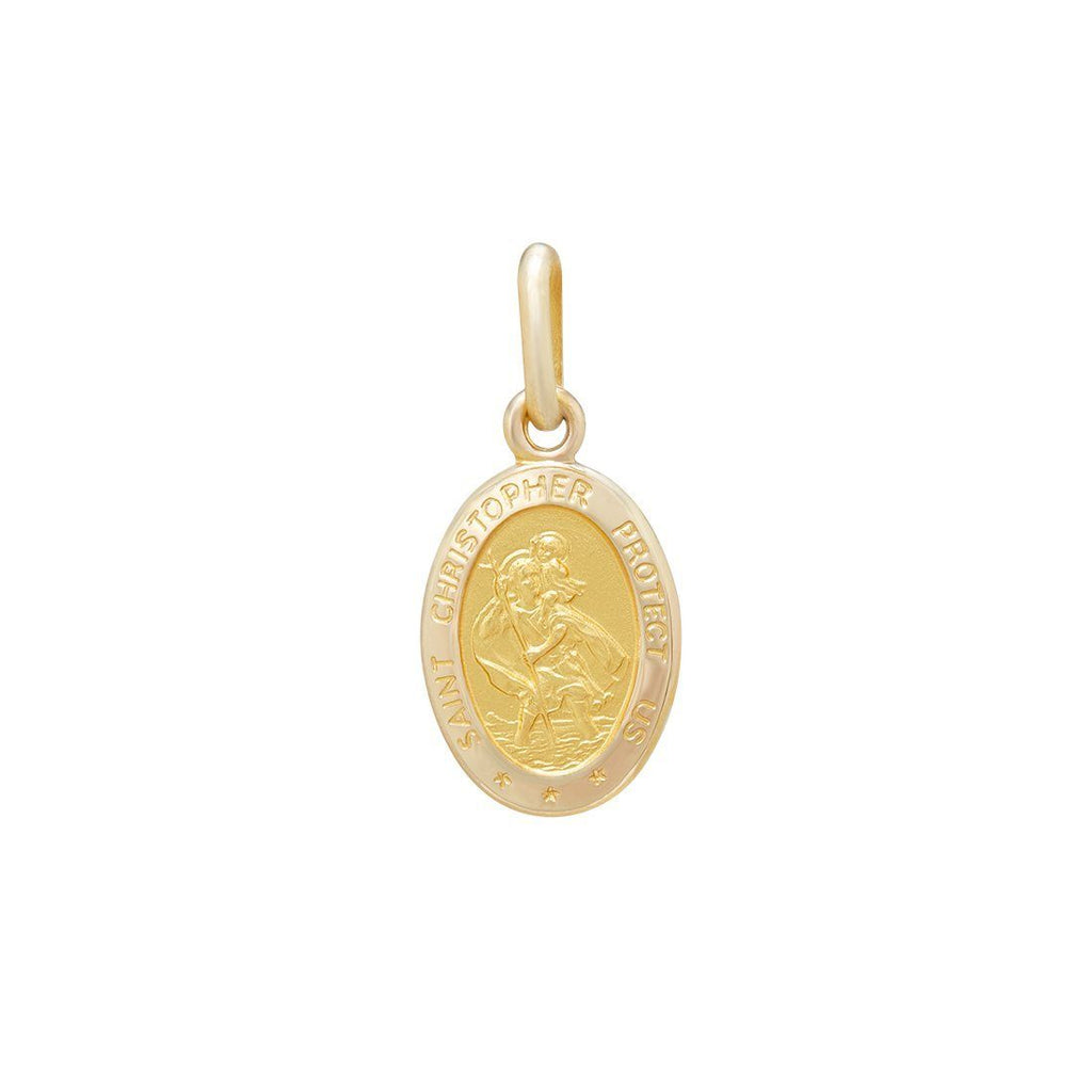 Oval Shaped St Christopher Medal Pendant in 9ct Yellow Gold Necklaces Bevilles