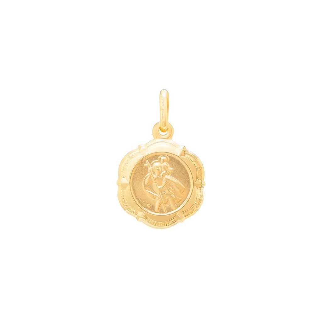 St Christopher Scalloped Edge Medal Pendant in 9ct Yellow Gold Necklaces Bevilles