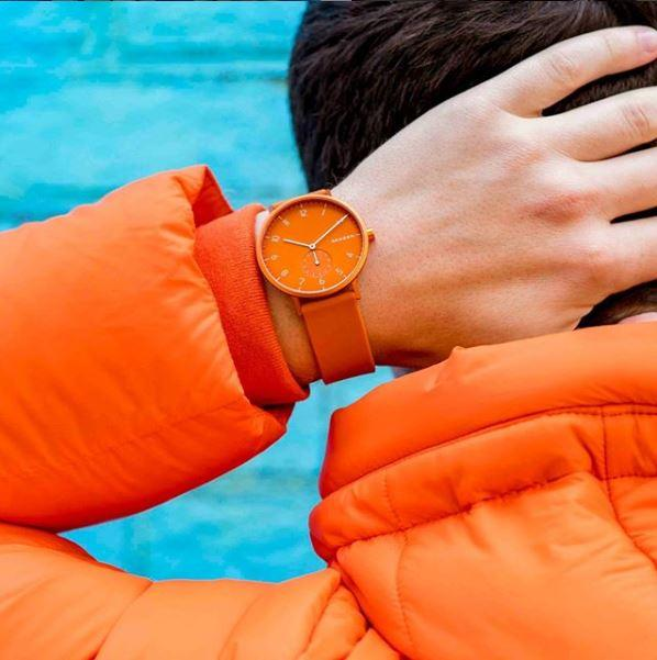 Skagen Aaron Kulor Orange Silicone Watch SKW2821