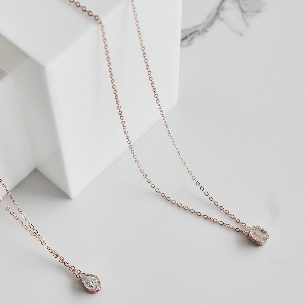 Georgini Cubic Zirconia Rose Gold 20mm Necklace Necklaces Georgini