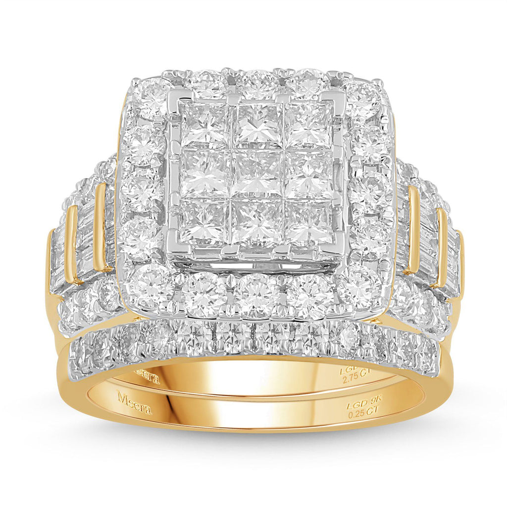 Meera Invisible Princess Ring with 3.00ct of Laboratory Grown Diamonds in 9ct Yellow Gold