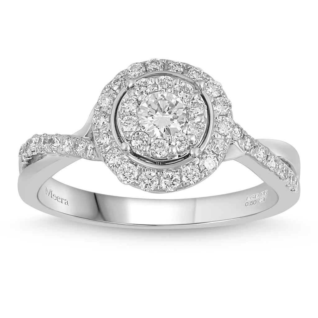 Meera Brilliant Halo Ring with 1/2ct of Laboratory Grown Diamonds in 9ct White Gold Rings Bevilles