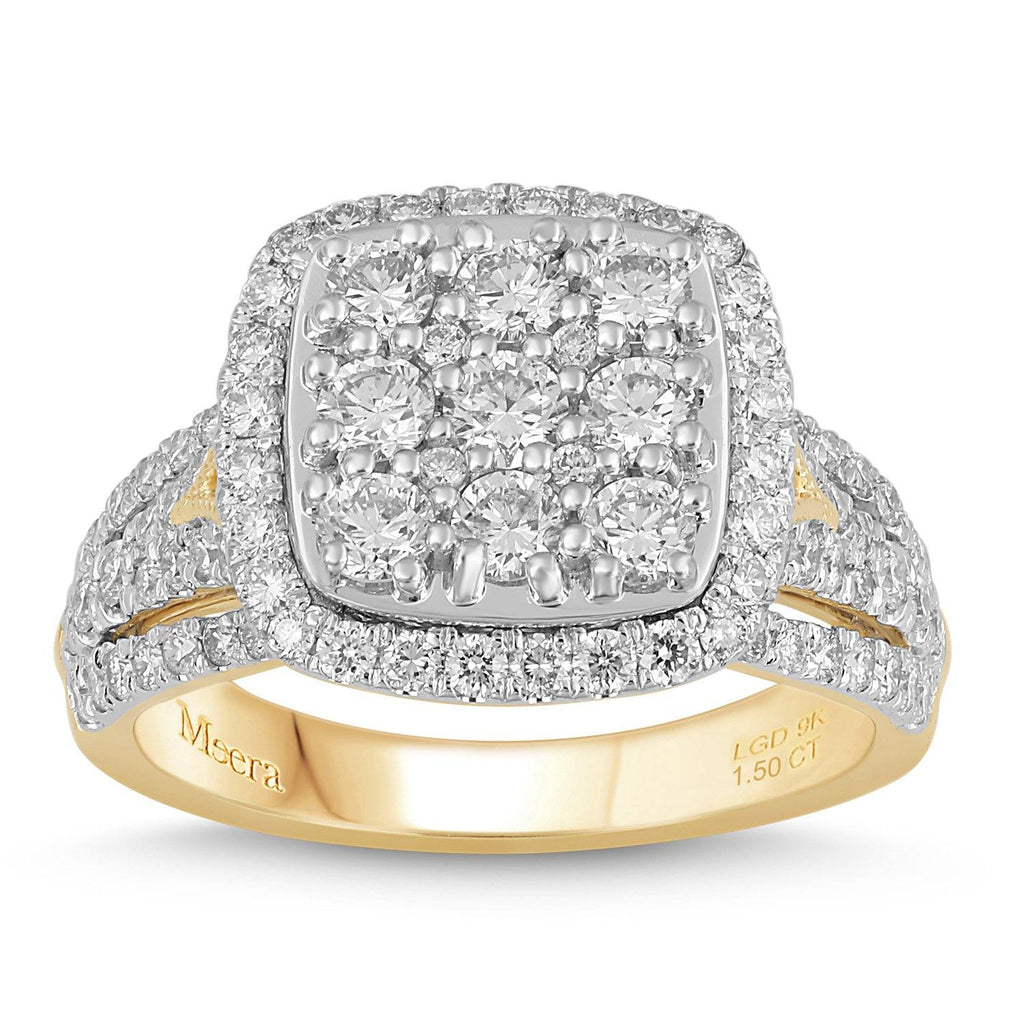 Meera Brilliant Halo Square Ring with 1.50ct of Laboratory Grown Diamonds in 9ct Yellow Gold Rings Bevilles