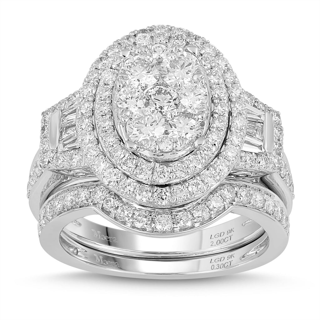 Meera Brilliant Halo & Matching Eternity Ring Set with 2.00ct of Laboratory Grown Diamonds in 9ct White Gold