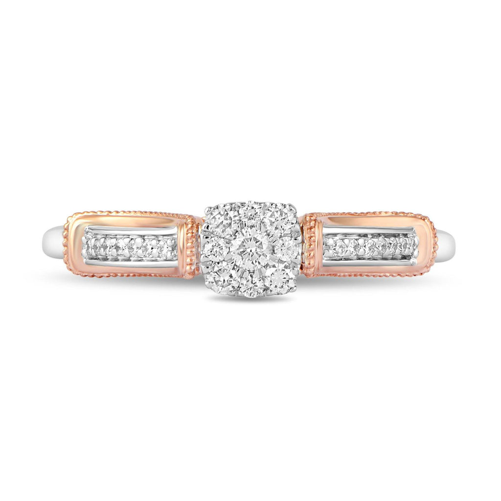 Enchanted Disney Fine Jewelry 9ct Rose Gold and Sterling Sliver Ariel Engagement Ring with 1/5ct Diamonds TDW Rings Enchanted Disney Fine Jewelry
