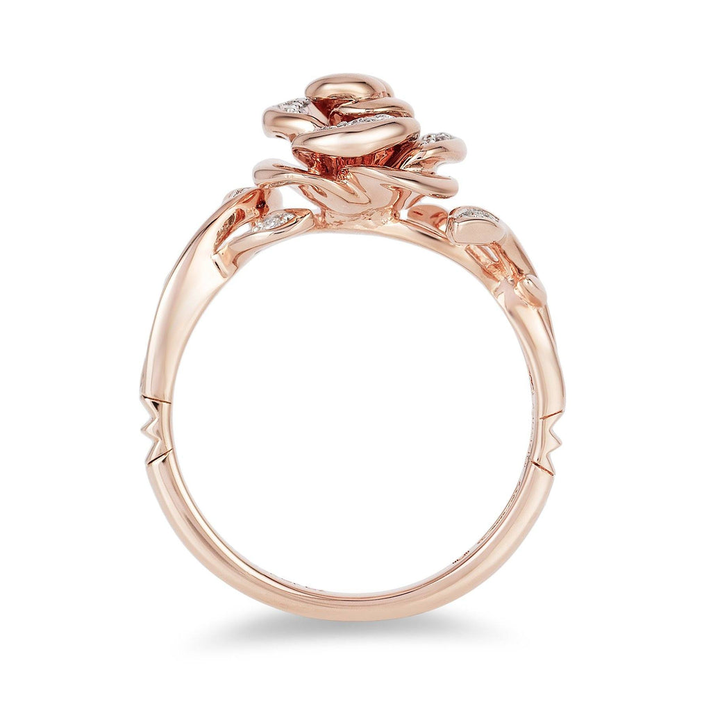 Enchanted Disney Fine Jewelry 9ct Rose Gold Belle Rose Ring with 1/10ct Diamonds TDW Rings Enchanted Disney Fine Jewelry
