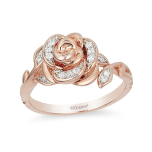 Enchanted Disney Fine Jewelry 9ct Rose Gold Belle Rose Ring with 1/10ct Diamonds TDW